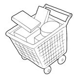 Sale shopping cart with boxes icon, outline style. Sale shopping cart with boxes icon. Outline illustration of sale shopping cart with boxes icon vector icon for Royalty Free Stock Image