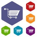 Sale shopping cart icons set hexagon Royalty Free Stock Photos