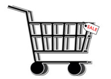 SALE - Shopping Cart with Sale Tag. Internet WWW E-commerce Royalty Free Stock Photography