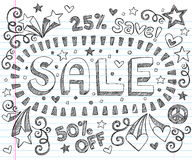Sale Shopping Discount Sketchy Doodles Vector Set. Sale Sketchy Notebook Doodles Discount 50% Percent Off Shopping Vector- Hand-Drawn Illustration Design royalty free illustration