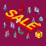Sale shopping e-commerce comsumers flat vector isometric 3d Stock Image