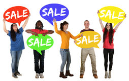 Sale shopping group of happy young people holding speech bubbles Stock Photo
