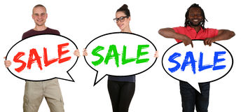 Sale shopping happy young people with speech bubbles Royalty Free Stock Photography