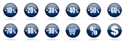 Sale and shopping icons set. On white background Stock Images