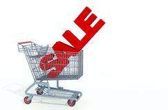 Sale in shopping kart Stock Photos