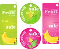 Sale shopping labels - spring and fruit sale. Four shopping labels with fruit and spring design Royalty Free Stock Image