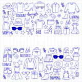 Sale Shopping Market Internet shop Discount Vector set of doodle icons for sale Royalty Free Stock Image