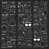Sale Shopping Market Internet shop Discount Vector set of doodle icons for sale Stock Image