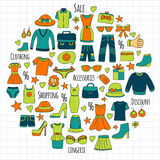 Sale Shopping Market Internet shop Discount Vector set of doodle icons for sale. Hand drawn icons Stock Image