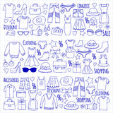 Sale Shopping Market Internet shop Discount Vector set of doodle icons for sale Royalty Free Stock Images