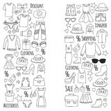 Sale Shopping Market Internet shop Discount Vector set of doodle icons for sale Royalty Free Stock Photography