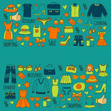 Sale Shopping Market Internet shop Discount Vector set of doodle icons for sale. Hand drawn icons Stock Photos