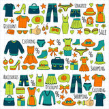 Sale Shopping Market Internet shop Discount Vector set of doodle icons for sale. Hand drawn icons Stock Photography