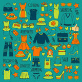 Sale Shopping Market Internet shop Discount Vector set of doodle icons for sale. Hand drawn icons Royalty Free Stock Images