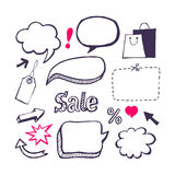 Sale, shopping set. Hand draw Stock Photos