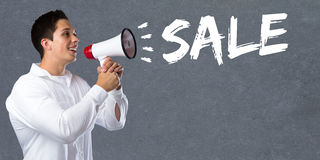 Sale shopping special offer seller vendor salesman young man meg royalty free stock image