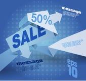 Sale shoppingbakgrund och origamietiketten för affärsbefordran avfärdar försäljning Royaltyfri Foto