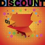 Sale shoppingbakgrund och origamietiketten för affärsbefordran avfärdar försäljning Royaltyfria Bilder