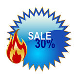 Sale sign. Vector sale sign and a fire symbol Royalty Free Stock Image