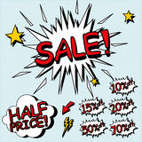 Sale sign. Signs for sales in a comic style. Layered file Royalty Free Illustration