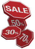 Sale Sign. Vector: Falling Prices - Red Sale Icons Isolated on White vector illustration