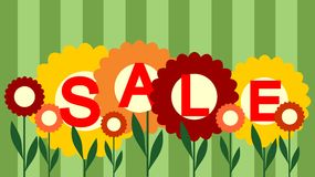 Sale sign. Stylish seasonal sale sign in framed in flowers Stock Photography