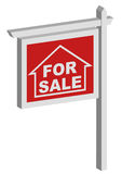 For sale sign. Red housing for sale sign Royalty Free Stock Photo