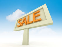 Sale sign. Discount or sale sign with clouds backrgound Royalty Free Stock Image