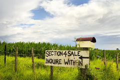 For sale sign. A home made for sale sign on a fence in the country Royalty Free Stock Photo