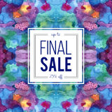 Sale sign on abstract cosmic watercolor background Royalty Free Stock Photos