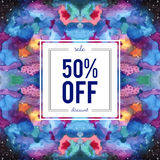 Sale sign on abstract cosmic watercolor background. Sale, 50 percent off discount sign on abstract cosmic kaleidoscope watercolor background. Seamless Galaxy Stock Illustration