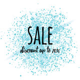 Sale sign banner on blue glitter cosmic splash at white background. Discount up to 70 image with text. Abstract image Stock Photo