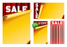 Sale sign board. Yellow and red sale sign with barcode background in EPS10 format Royalty Free Stock Image