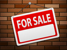 For sale sign board on brick. Background Royalty Free Stock Images