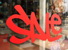 Sale sign with copy space in a shop window Stock Photography