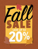 Sale sign. Fall sale leaf sign 30 percent offer over brown background Stock Photography