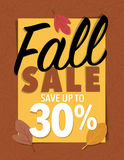 Sale sign. Fall sale leaf sign 30 percent offer over brown background Stock Photos