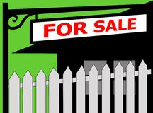 FOR SALE sign and a fence Royalty Free Stock Images
