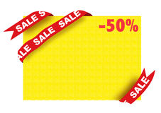 Sale sign and fifty percent discount poster. On white background Royalty Free Stock Images