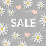 Sale sign with flat flowers over wooden table. Springtime concept. Vector illustration. Top view Stock Photos