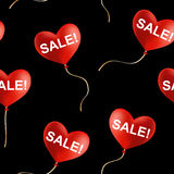 Sale! sign on flying heart shaped balloons, seamless vector background Stock Photos