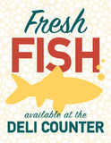 Sale sign. Fresh fish poster available at the deli counter Royalty Free Stock Photography