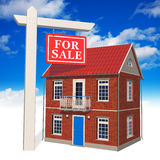 For sale sign in front of new house. 'For sale' sign in front of new house over the blue sky vector illustration