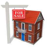 For sale sign in front of new house. 'For sale' sign in front of new house isolated over white background royalty free illustration