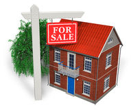 For sale sign in front of new house. 'For sale' sign in front of new house isolated over white background stock illustration
