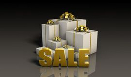 Sale Sign with Gift Boxes. In 3d Vector Illustration