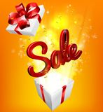 Sale Sign Gift Concept Background. A sale sign flying out of a gift box with orange and yellow background vector illustration