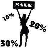 Sale sign with girl vector Stock Photography