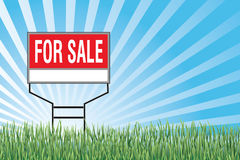 For Sale Sign In Grass. Illustration of a for sale sign with a blue sky burst or sunburst, green grass at the bottom and blank space for your text or information Stock Image
