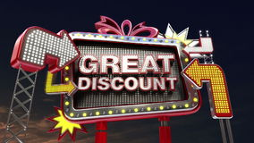 Sale sign 'GREAT DISCOUNT' in led light billboard promotion stock footage